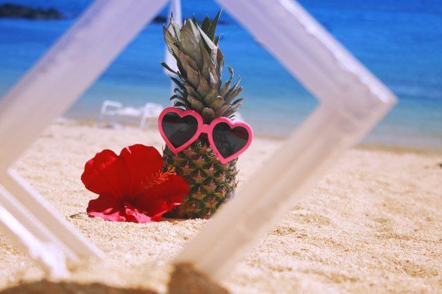 浜辺でくつろぐパイナップル君