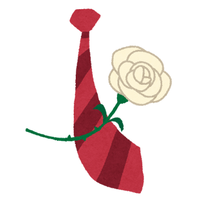 ネクタイと白いバラのプレゼント